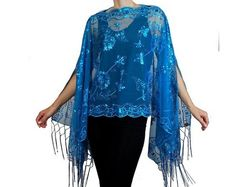 Womens Mother of the Bride Beaded Fashion Shawl Tunic Poncho Cover up Top FREE SHIPPING