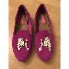 Isaac Mizrahi Loafers Authentic Isaac Mizrahi fuchsia quilted suede loafers with silver/pearl poodle design and tan leather lining. Only worn once! Isaac Mizrahi Shoes Flats & Loafers