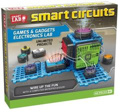 Explore unlimited electronic projects to create working games and gadgets. Complete the circuit to make a quiz show game, an electronic drum kit, a motion-sensing room alarm, and much more using 10 smart modules and the powerful microprocessor module. Engineering Toys, Electronic Engineering, Electrical Engineering, Electronic Kits For Kids, Toys For Boys, Kids Toys, Baby Toys, Circuit Games, Lab Games