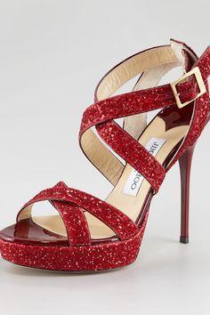 Red Vamp Glitter Crisscross Sandal