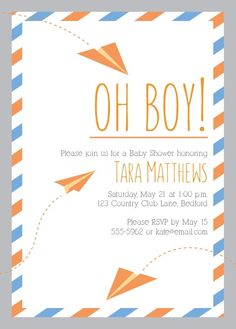 The Paper Airplanes Baby Shower Invitation is the perfect way to invite guests to your party. Featuring fun and whimsical paper airplanes, plenty of room for your customized text, and a fun stripped border; this card is sure to get people excited to celebrate with you!