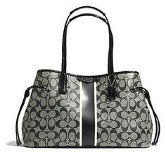 CLOSING MARCH 21ST  Coach Carryall Tote Coach signature stripe drawstring carryall tote  Black grey and white detail with black leather straps Coach Bags Totes