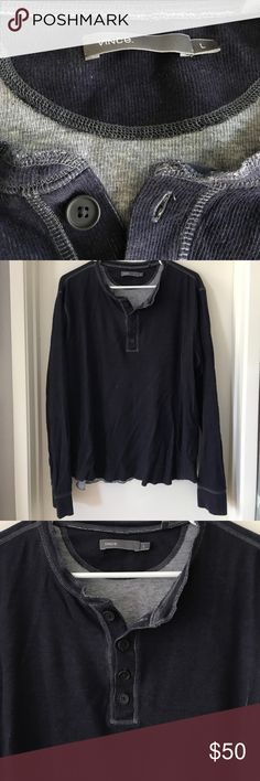 Authentic Vince dark blue long sleeve Henley Nice high end basic in navy.  Soft cotton, long sleeve shirt.  Worn once.  No issues.  Smoke free.  Pet free. Vince Shirts Tees - Long Sleeve