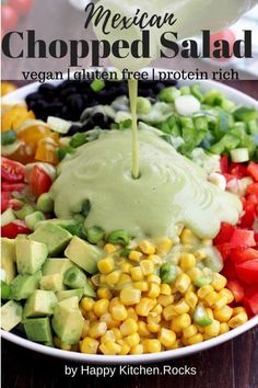 Delicious vegan Mexican chopped salad with avocado dressing makes the perfect lunch salad or an easy side dish to any Mexican feast. This gluten free salad is packed with fresh veggies, dietary fiber and plant based protein. Grilling Recipes, Veggie Recipes, Mexican Food Recipes, Whole Food Recipes, Vegetarian Recipes, Healthy Recipes, Vegan Vegetarian, Mexican Chopped Salad, Mexican Salads