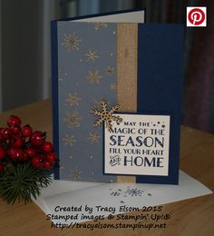 This card was created using the Cozy Christmas Stamp Set and the Winter Wonderland Designer Vellum Stack from Stampin' Up! http://tracyelsom.stampinup.net