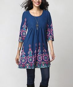 Look what I found on #zulily! Blue Medallion Empire-Waist Tunic Dress…