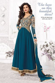 Kriti Sanon Georgette Resham Work Blue Semi Stitched Long Anarkali Suit - S006 at Rs 1915