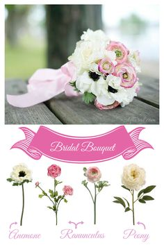 Afloral.com DIY Design Ideas have a variety of bridal bouquets, something for every bride. Find a bouquet you like and the flowers that you can use to make it, like this beautiful Cream Pink Bridal Bouquet of Anemones, Ranunculus and Peonies.