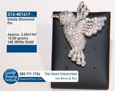 Diamond humming bird pin in white gold. This beautiful bird jewelry will make a statement on any outfit or accessory. You can add the brooch to your collar or to a bag to add some sparkle to your outfit. To see more jewelry and gemstones tune in to Gem Shopping Network 24/7.Item #213-401617Estate 3.60 ctw Diamond 18K White Gold 10.00gr Pin Approx Wt/ Nob/ Bird/ South Beach Collection Approx.Wt.