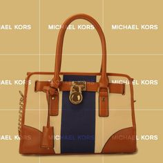 Michael Kors Hamilton Striped Canvas Medium Navy White Totes Show Your Special Taste And High Taste!