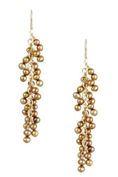 Gold 4mm Pearl Cluster Earrings by mariechavez on @HauteLook