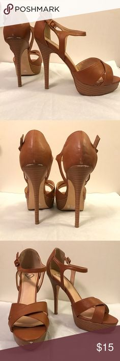 ❗️SALE❗️Windsor Tan High Heel Sandals Only used 2-3 times (inside) and they have just been sitting in my closet! They deserve to be worn!   These are super comfortable! Easy to walk in!  And match almost anything!  Has signs of wear as shown in the pictures.   Heel height: ~ 5 inches with less than 1 inch of a platform! Size: 8 1/2   Ask any questions, I'll be happy to help you! I usually ship within 24 hours depending on day/time!:) WINDSOR Shoes Sandals