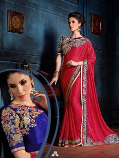 Blue Embroidered Satin Silk Saree #bandbaajaa.com #bandbaajaa #weddingsarees #weddingsaris #bridalsarees #bridalsaris #designersarees #designersaris #sarees #saris #weddingwear #weddingshopping