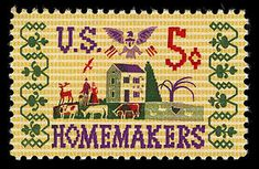 "To recognize and honor work done in the home, this ""Homemakers"" stamp was issued."
