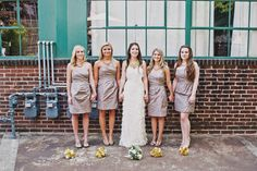 muted bridesmaid color with bright flowas