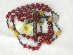 Vintage Catholic Irish Ireland Saint Theresa Rosary Cranberry Butterscotch Beads 1920s Art Deco, Catholic, Athlete, Ireland, Irish, Marble, Beaded Bracelets, Bronze, Base