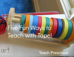 Introducing five fun ways teachers can use tape in the preschool classroom to promote learning and play! Kindergarten Crafts, Preschool At Home, Preschool Classroom, Preschool Learning, Preschool Activities, Teaching, Kindergarten Rocks, Colored Tape, Outdoor Learning