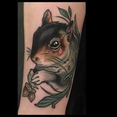 Pink Tear Squirrel tattoo by Brian Povak