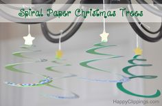 DIY Spiral Paper Christmas Trees | HappyClippings.com