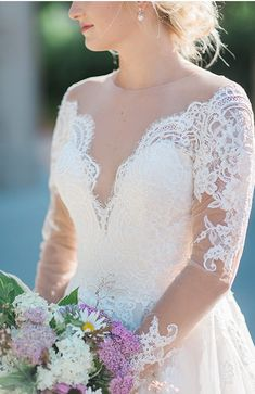 New Arrival Long Sleeves Illusion Lace Bridal Dresses