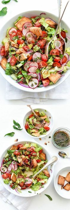 Low Unwanted Fat Cooking For Weightloss Fattoush Salad Is A Simple Salad Of Romaine, Radishes, Tomatoes And Pita Chips For Crunch, All Dressed In A Flavorful Minty Dressing. My Fave Salad Of Summer Healthy Soup, Healthy Salads, Healthy Eating, Vegan Soup, Vegetarian Recipes, Cooking Recipes, Healthy Recipes, Quick Recipes, Simple Recipes