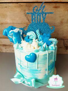Oh Boy Babyshower Blue Drip Cake