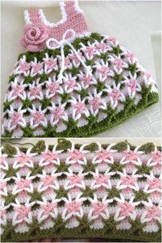 Crochet Baby Dress Free Pattern, Crochet Baby Clothes, Crochet Baby Dresses, Knit Baby Dress, Crochet Girls, Knit Crochet, Crochet Hats, Crochet Projects, Crochet Ideas