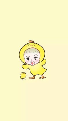 Sehun the chick Cute Wallpaper For Phone, Kawaii Wallpaper, Chanyeol, Exo Exo, Exo Cartoon, Kai, Exo Anime, Sehun Cute, Exo Fan Art