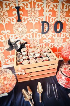 Creative and easy DIY. Attach wallpaper to a board and hang painted letters for a favors table. Great in orange. Orange Wedding Themes, Tangerine Wedding, Burnt Orange Weddings, Wedding Colors, Wedding Orange, Wedding Wall, Dream Wedding, Wedding Stuff, Cute Wedding Ideas
