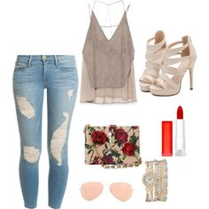 late summer night with my girls by latoya-lorraine on Polyvore featuring polyvore fashion style Zara Frame Denim Dolce&Gabbana maurices Ray-Ban Maybelline