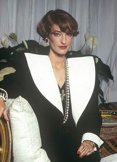 Loulou de la Falaise in pieces from Spring-Summer 1981 haute couture collection. Photo by Jean-Luce Hure.