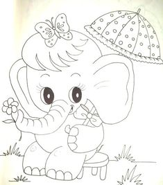 Free Adult Coloring Pages, Cute Coloring Pages, Coloring Books, Baby Embroidery, Embroidery Patterns Free, Quilt Patterns, Art Drawings Sketches Simple, Easy Drawings, Elephant Coloring Page