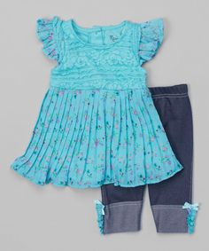 Look at this Aqua & Turquoise Floral Tunic & Denim Leggings - Toddler & Girls on #zulily today!