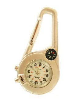 """Mini Clip on Watch Bag Pocket Watch W/compass & Back Light Matt Silver Tone Xanadu. $14.99. 2.75""""  high 1.5"""" case diameter. Multi function clip on watch with compass and back light. Japan Movement with Luminescent Hands and Markers. Alloy Case with Military Dial. Save 40% Off!"""