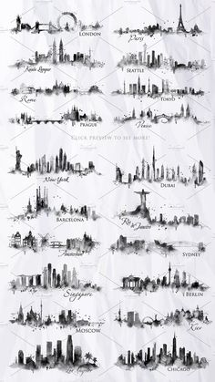 Silhouette city by Anna on Creative Market - Tattoo schablonen - Travel Journal Silhouette Tattoos, Silhouette Drawings, Body Art Tattoos, Small Tattoos, Tattoos For Guys, Leaf Tattoos, Tattoo Drawings, Tatoos, Skyline Silhouette