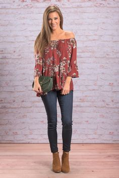 """""""Romantic Ways Top, Rust"""" This adorable little top is so romantic! It features that off the shoulder cut that you can't get enough of! Plus, it's print is the perfect fall floral!   #newarrivals #shopthemint"""