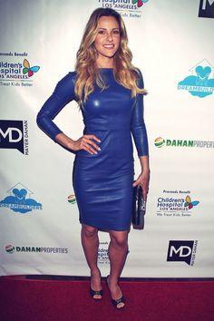 Jill Wagner blue leather dress