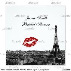 Paris France Skyline Kiss #1 BW Bridal Shower