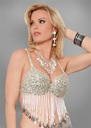 Beaded Sequin Top with Beaded Fringes and Coins 2848