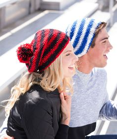Let's Go! Slouchy Knit Hat Free Knitting Pattern in Red Heart Yarns