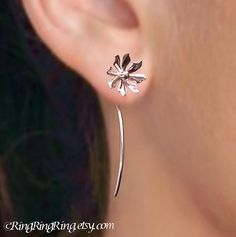 This makes me wish I had pierced ears.  Long Stem Wild Flower Earrings, Sterling Silver Drop Earrings, Unique Bridal Gift Floral Jewelry Dangle Stems