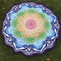 Women Chic Tassel Indian Mandala Tapestry Lotus Printed Bohemian Beach Mat Yoga Mat Sunblock Round Bikini Cover-Up Blanket Lotus Mandala, Indian Mandala, Flower Mandala, Lotus Flower, Yoga Blanket, Blue Blanket, Beach Blanket, Mandala Indiana, Beach Towel