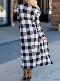 Casual Women Autumn Loose Plaid Long Sleeve Long Cardigans at Banggood Black Plaid, Long Cardigan, Going Out, Dresses For Work, Autumn, Clothes For Women, Fashion Watches, Long Sleeve, Womens Fashion