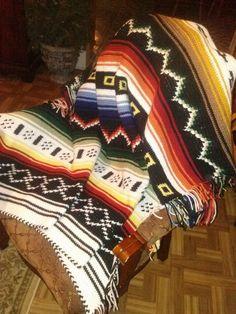 Crochet indian afghan.
