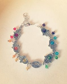 Silver Hamsa Hands Bracelet Rainbow by RedSilentWolfJewelry