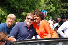 Congresswoman #MaxineWaters takes a photo with Eric Strauss, President's Professor at #LMU, during the #Westchester #FourthOfJuly parade
