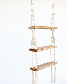 Macrame Shelves Shelving Macrame Wooden Shelves Handmade What is Decoration? Decoration is the art of decorating the inner and exterior … Wall Hanging Shelves, Macrame Wall Hanging Diy, Wooden Shelves, Floating Shelves, Handmade Shelving, Macrame Tutorial, Wooden Art, Diy Home Crafts, Decoration