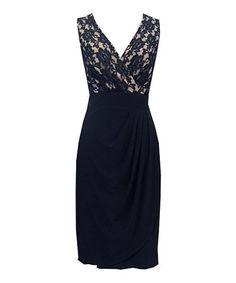 Black & Nude Lace Drape Skirt Dress - Women