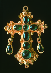 The Atocha Cross - recovered from sunken treasure of 17th century Spanish galleon. Emerald and gold