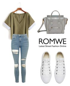 """""""ROMWE T-Shirt"""" by tania-alves ❤ liked on Polyvore featuring Topshop, Converse and Banana Republic"""